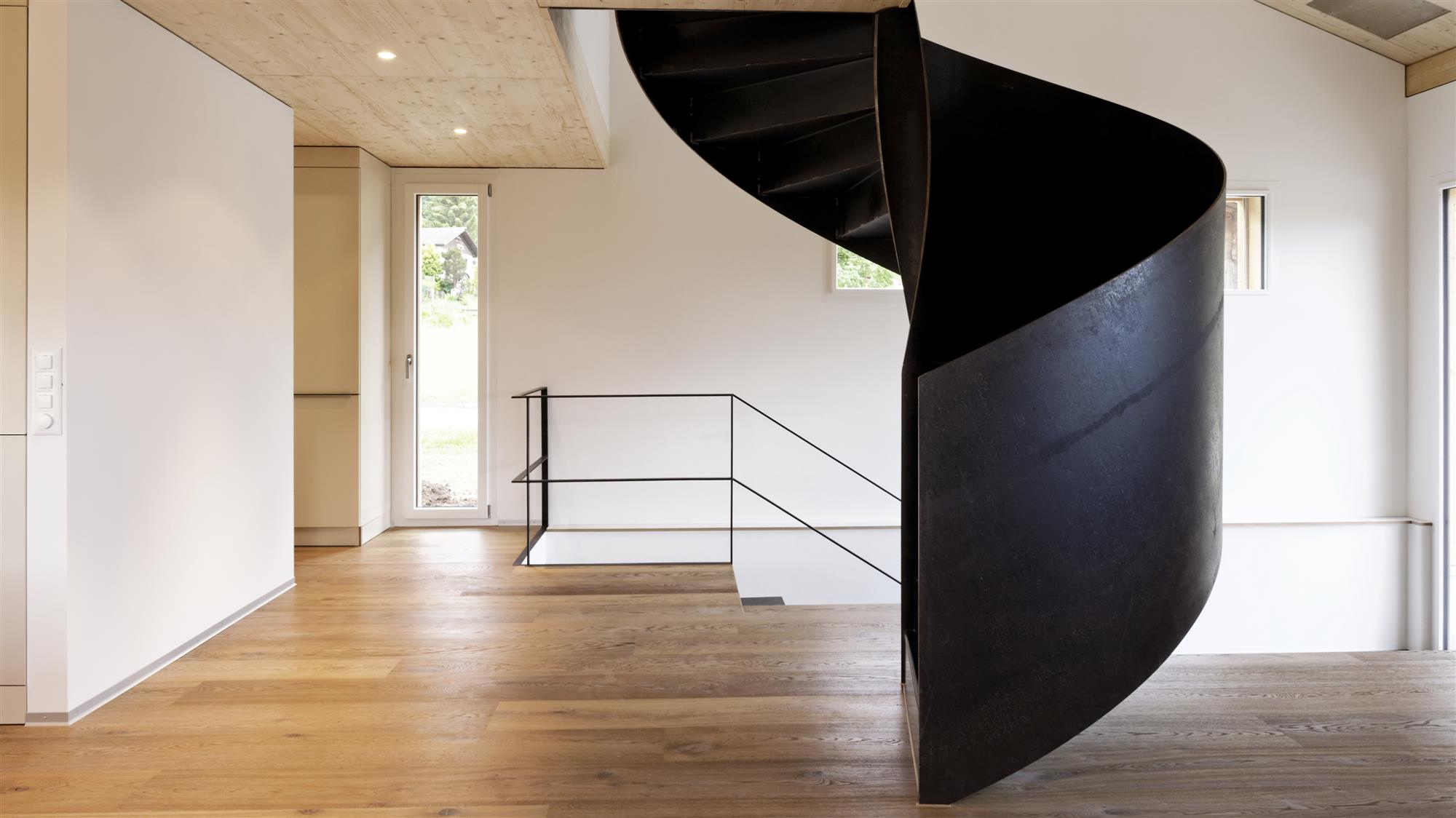 Metal stairs of black steel
